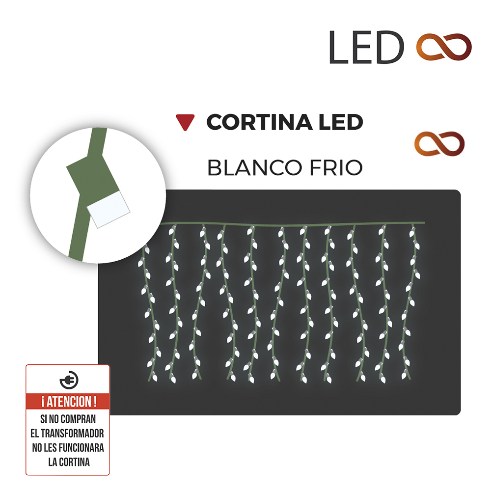 Cortina de LED 200 x 100 con 10 tiras blanco frío enlazable
